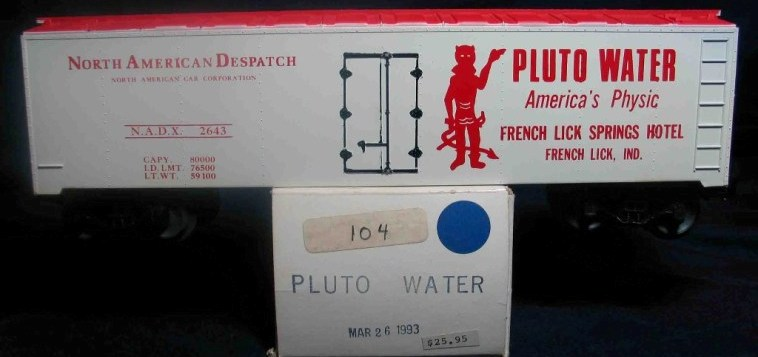 Frank's Roundhouse Pluto Water refrigerator car