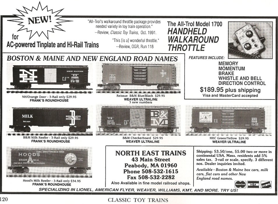 Classic Toy Trains May 1993 North East Trains ad