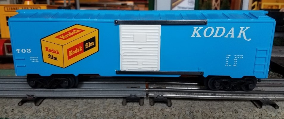 Kris Kodak 703 blue with white lettering boxcar