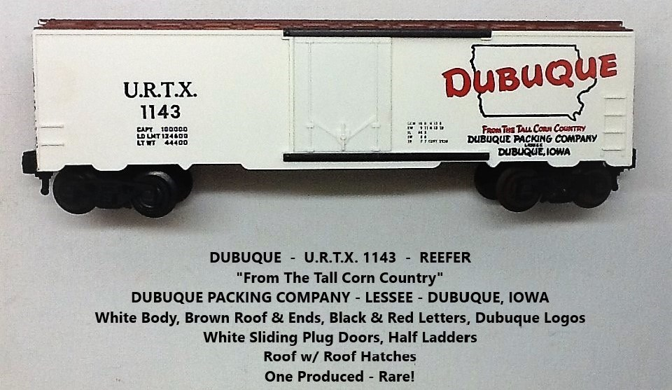 Kris Dubuque Packing Company 1143 white with brown roof and ends refrigerator car