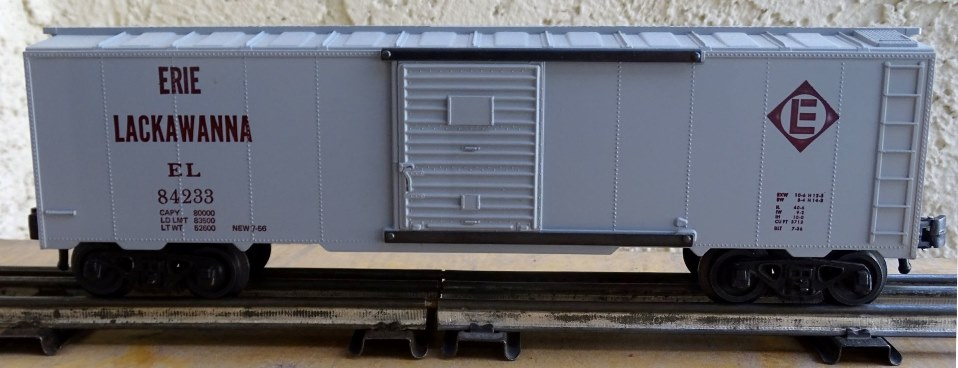 Kris Erie Lackawanna 84233 gray boxcar with panel doors