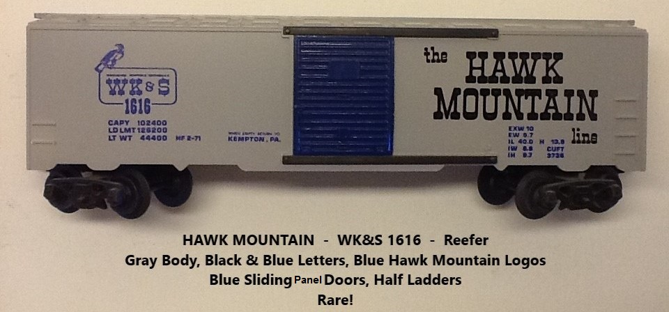 Kris Hawk Mountain 1616 gray refrigerator car with black and blue lettering