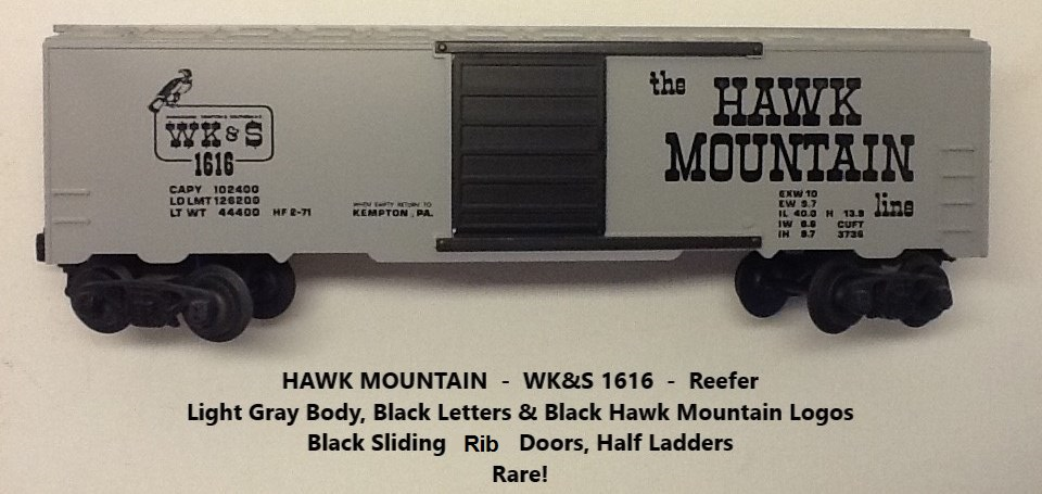 Kris Hawk Mountain 1616 gray refrigerator car with black lettering
