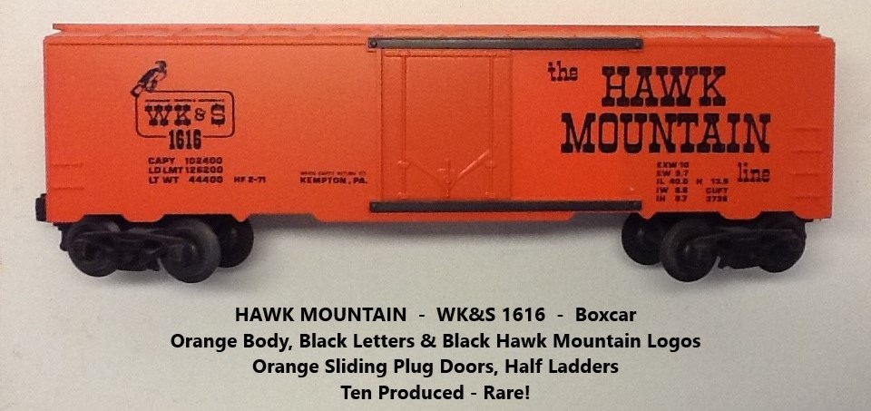 Kris Hawk Mountain 1616 orange boxcar with black lettering