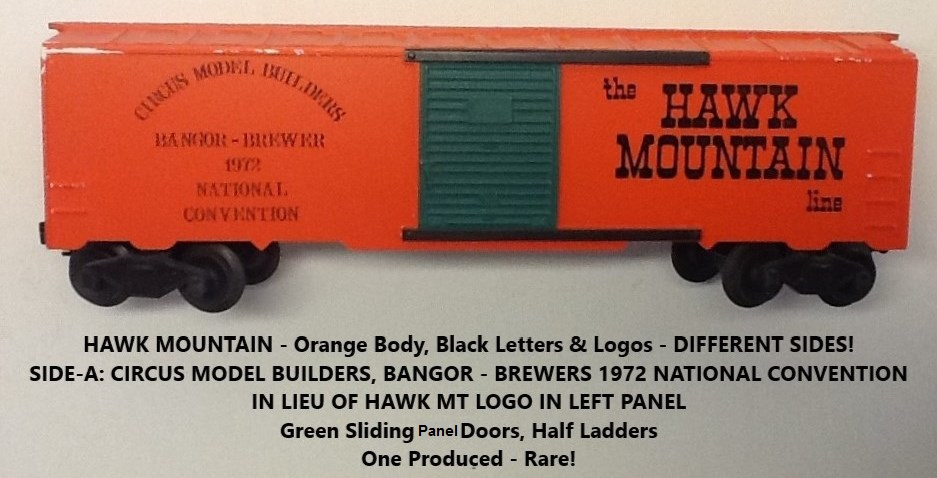 Kris Circus Model Builders and Hawk Mountain 1616 orange boxcar - side A
