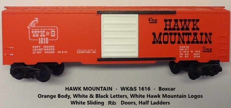 Kris Hawk Mountain 1616 orange boxcar with black and white lettering