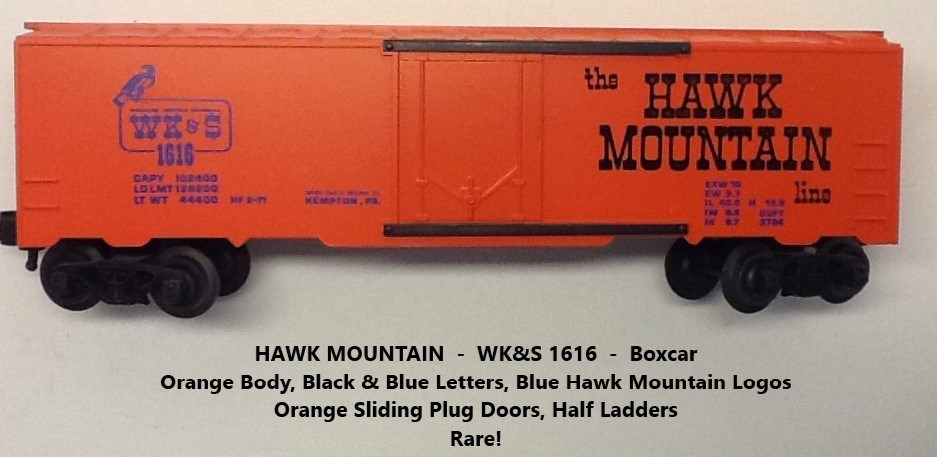 Kris Hawk Mountain 1616 orange boxcar with black and blue lettering