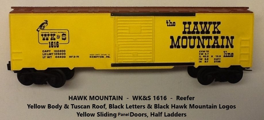 Kris Hawk Mountain 1616 yellow and tuscan refrigerator car with yellow doors