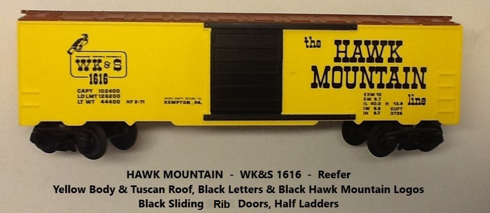 Kris Hawk Mountain 1616 yellow and tuscan refrigerator car with black doors