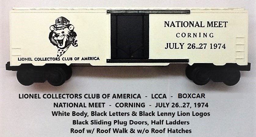 Kris LCCA 1974 white boxcar with Lenny the Lion and Corning meet info