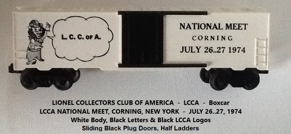 Kris LCCA 1974 white boxcar with speaking Lenny the Lion and Corning meet info