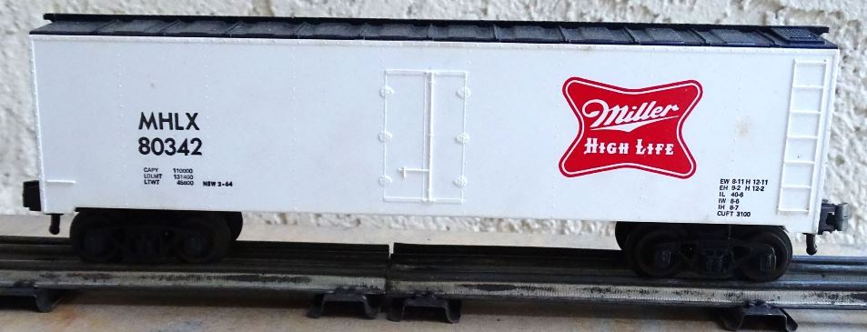 Kris Miller High Life white refrigerator car with black ends and roof