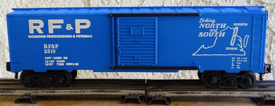 Kris RF&P 2319 blue boxcar with glossy white lettering