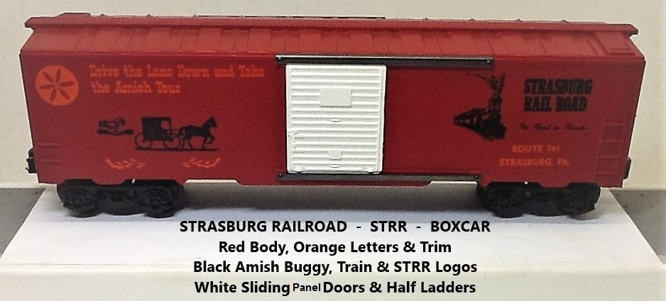 Kris Strasburg Rail Road red boxcar with panel doors