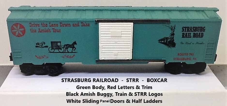 Kris Strasburg Rail Road green boxcar with red letters