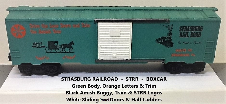 Kris Strasburg Rail Road green boxcar with orange letters