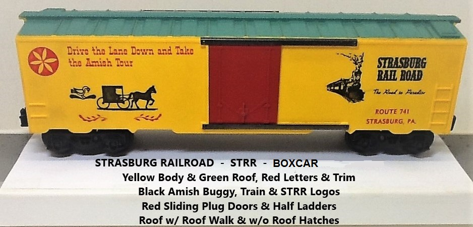 Kris Strasburg Rail Road yellow and green boxcar with red doors