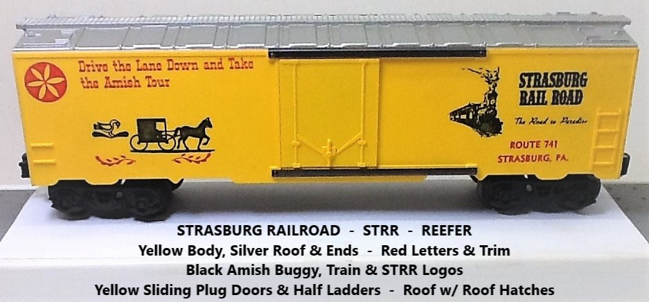 Kris Strasburg Rail Road yellow and silver refrigerator car