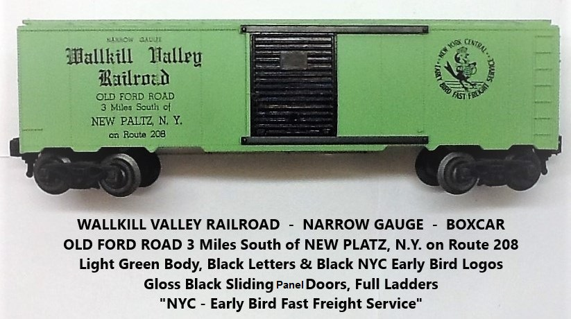 Kris Wallkill Valley Railroad light green boxcar with black lettering
