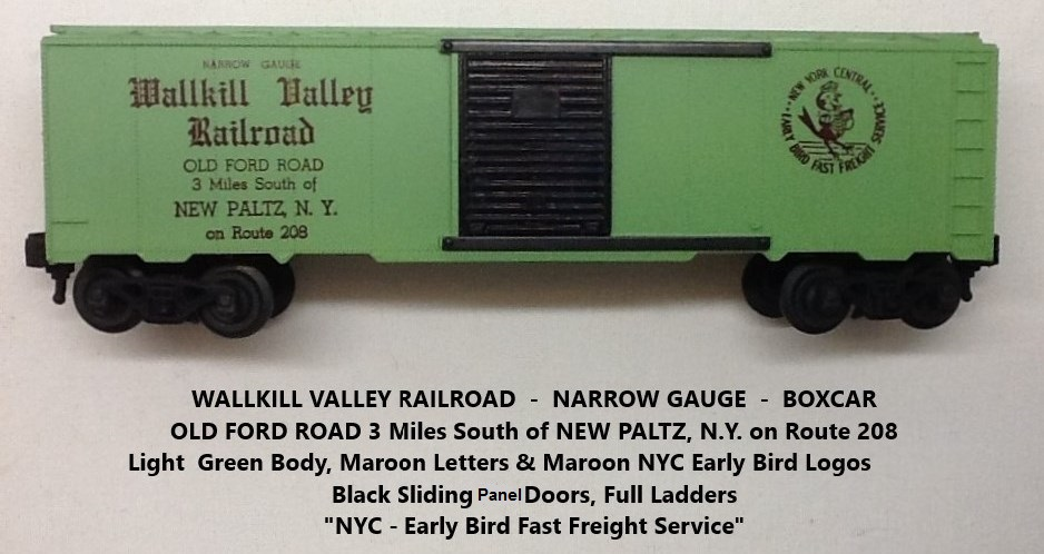 Kris Wallkill Valley Railroad light green boxcar with maroon lettering